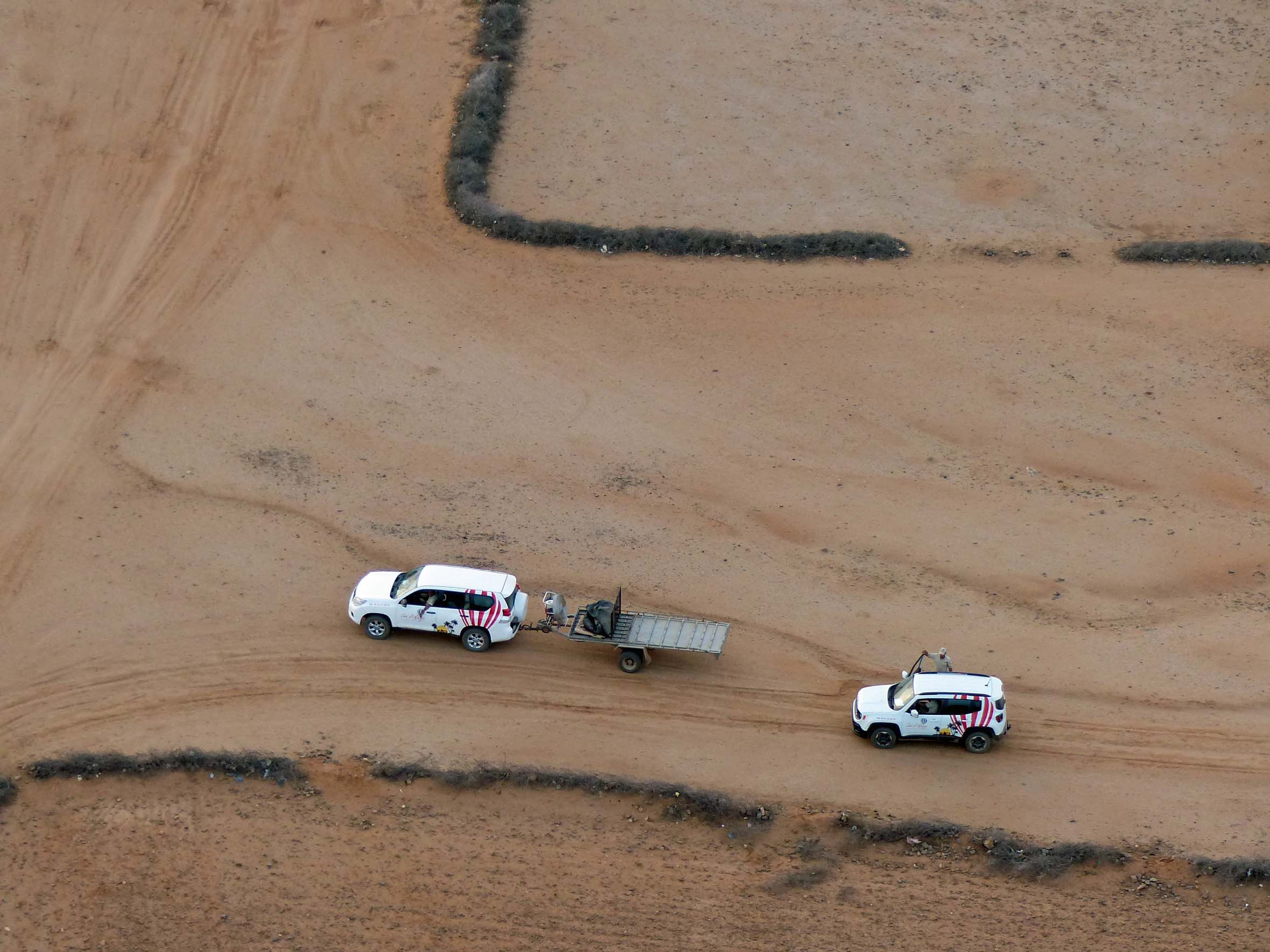 Aerial view of two white vehicles in the desert