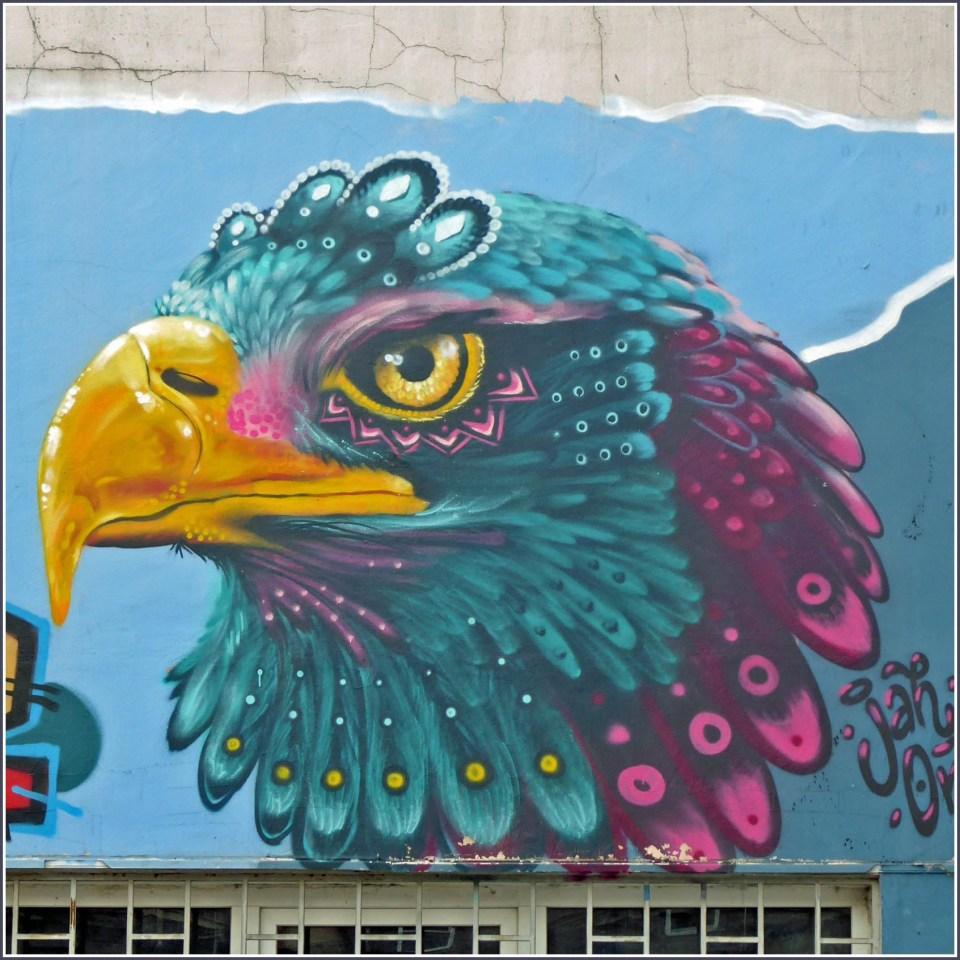 Mural of a colourful eagle