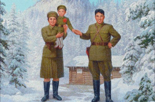 Mosaic of Kim Il Sung and family in the snow