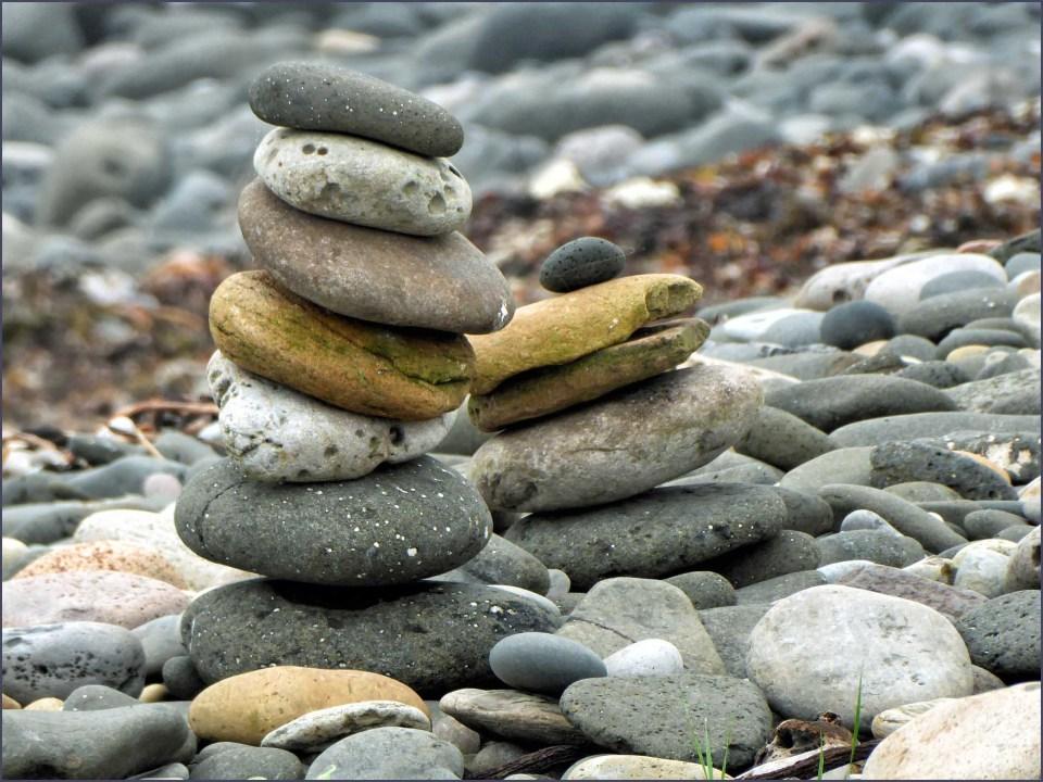 Piles of stones on a beach