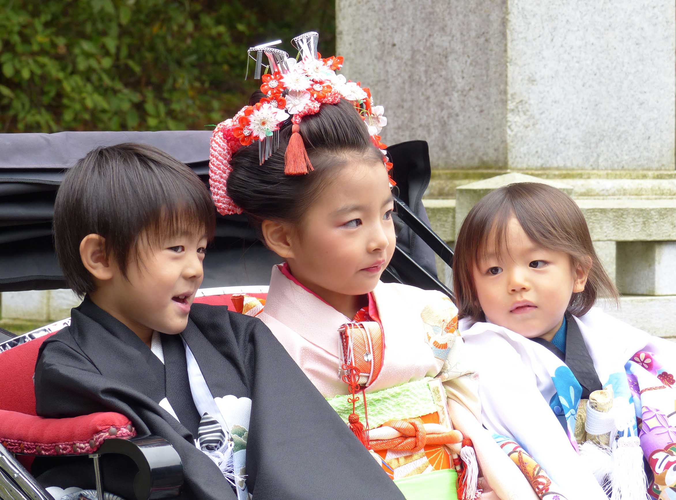 Little boy and two little girls in Japanese costume