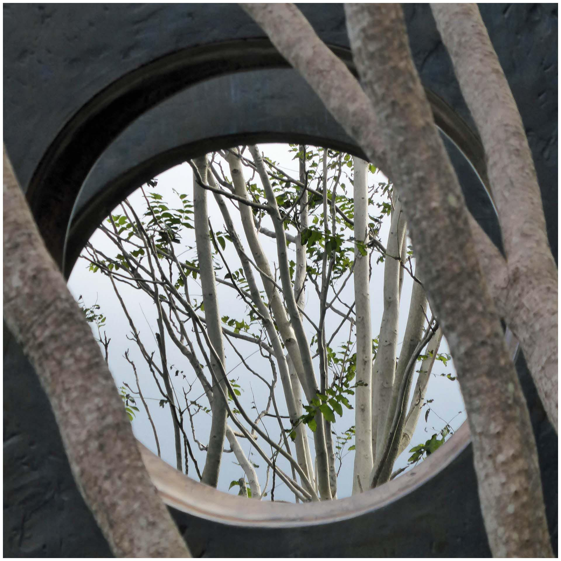 Glimpse of trees through hole in sculpture