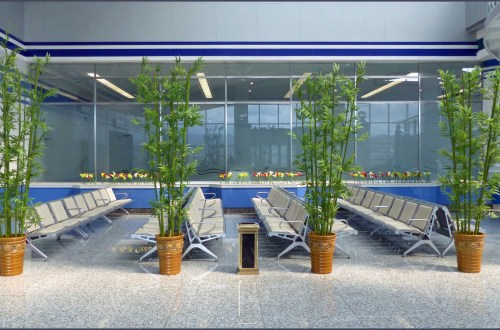 Empty airport seating area