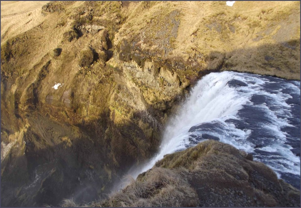 Looking down at top of waterfall