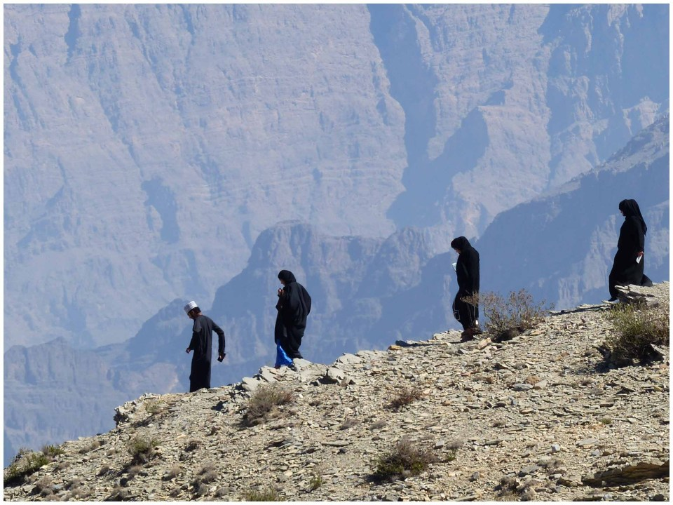 People on a mountainside