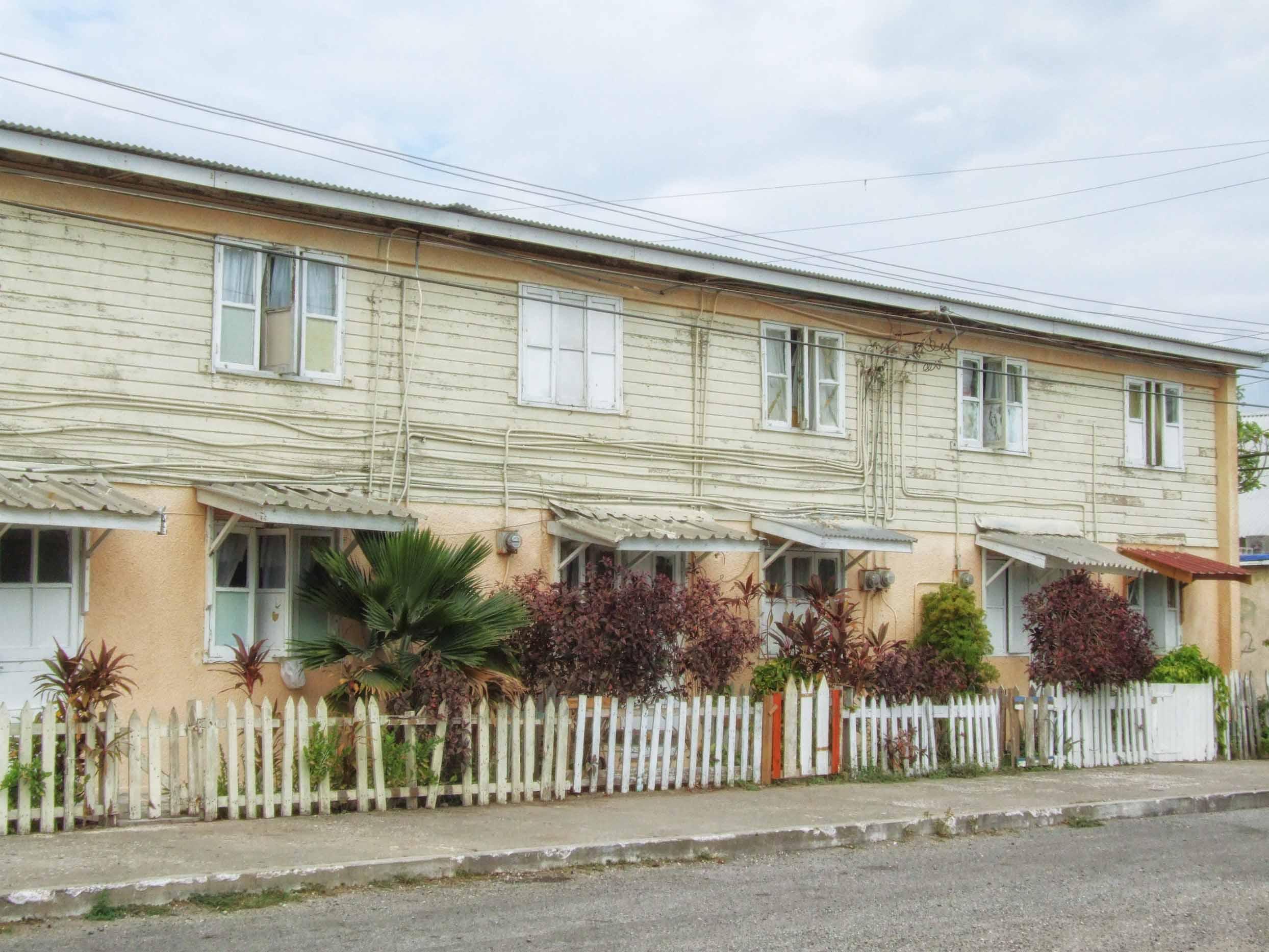 Row of wood-framed houses
