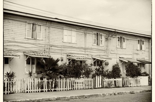 Sepia photo of old houses