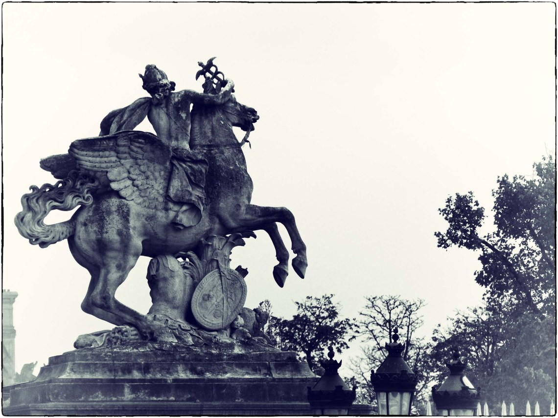 Statue of winged horse and horseman