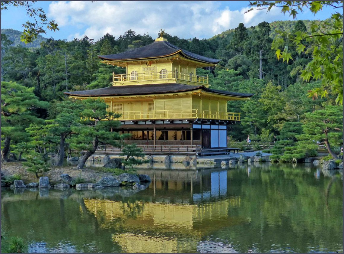 Golden temple reflected in a lake