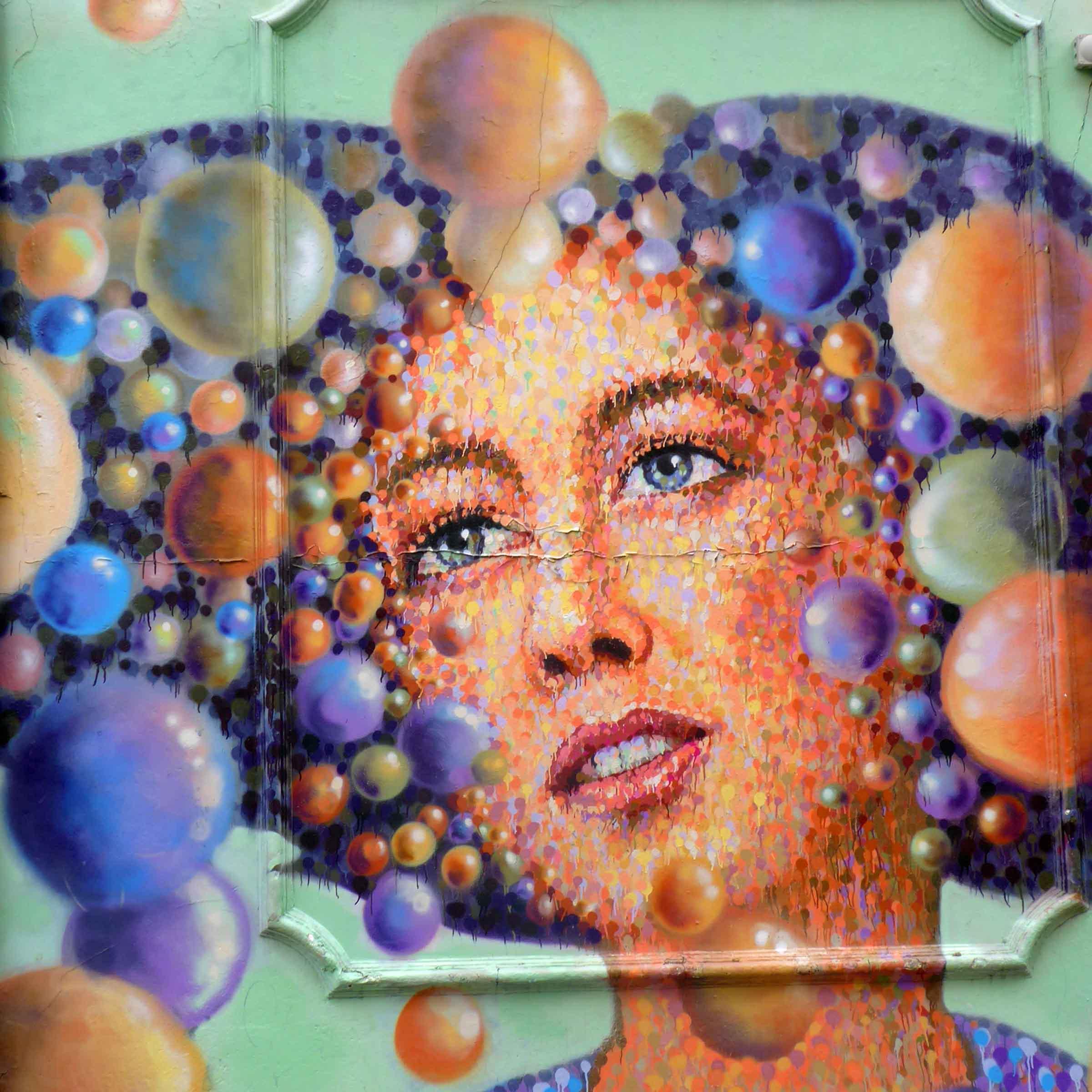 Mural of girl's face