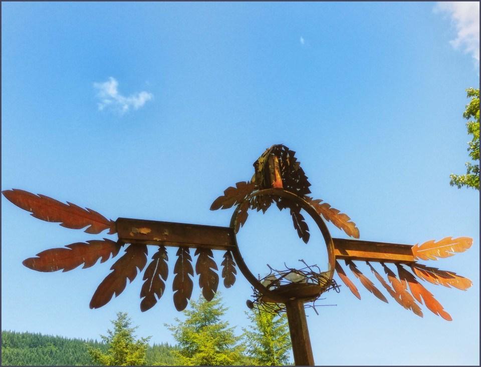 Sculpture created from scrap iron etc