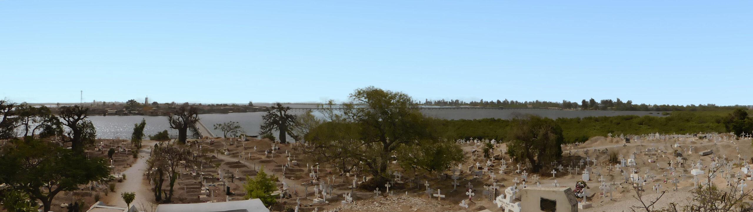 Panorama of cemetery with mangrove lagoon