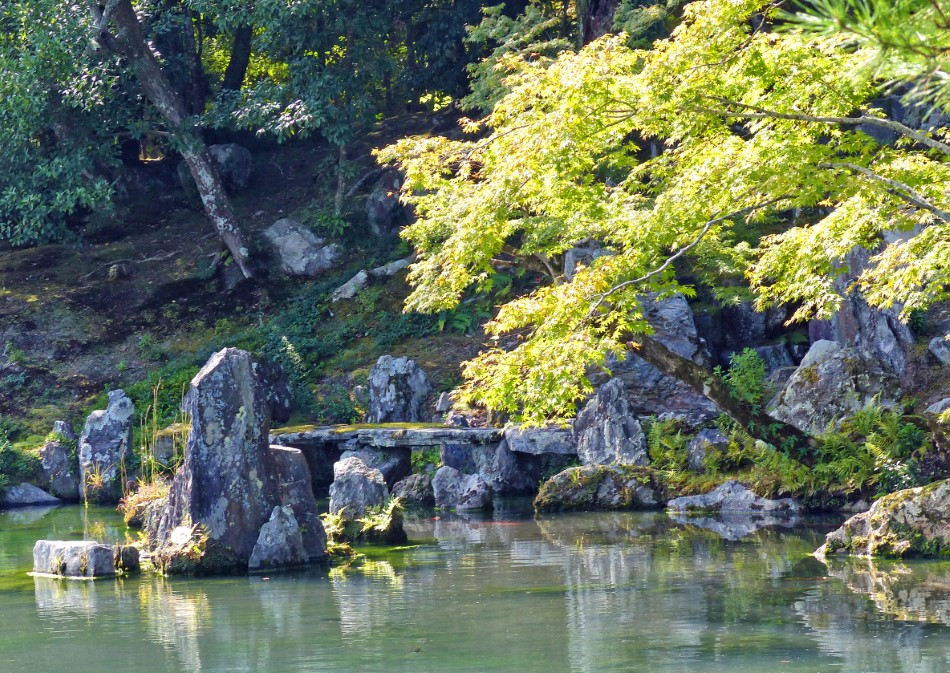 Japanese garden with ponds and rocks