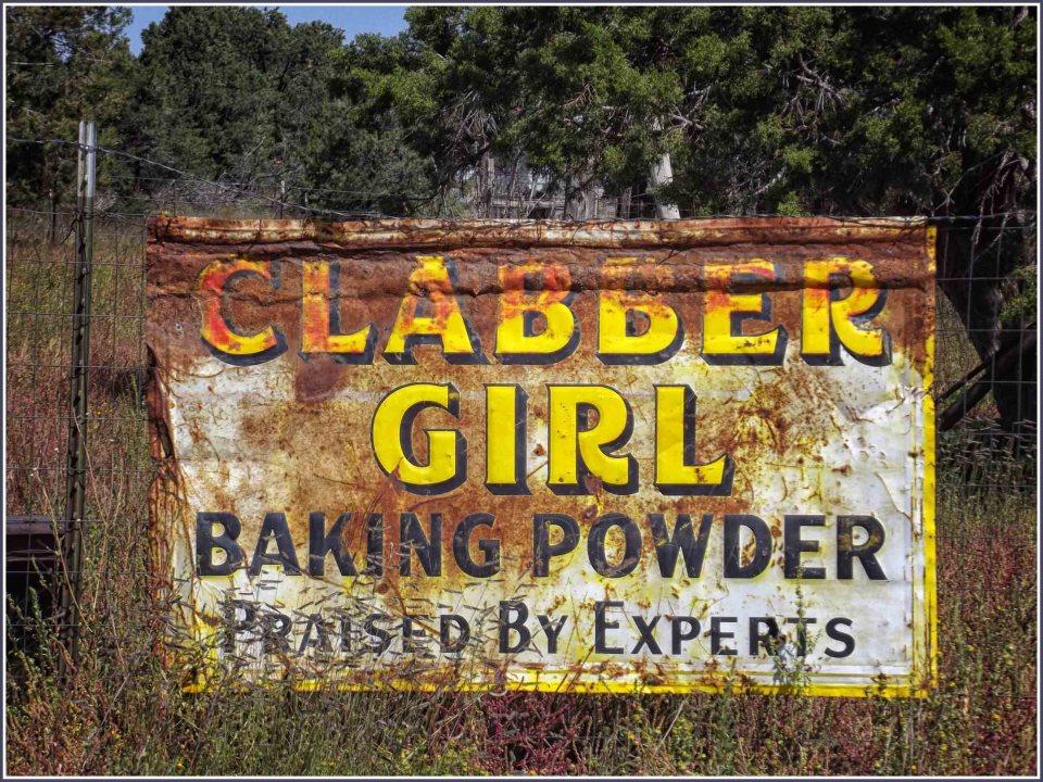 Rusting baking powder advert sign