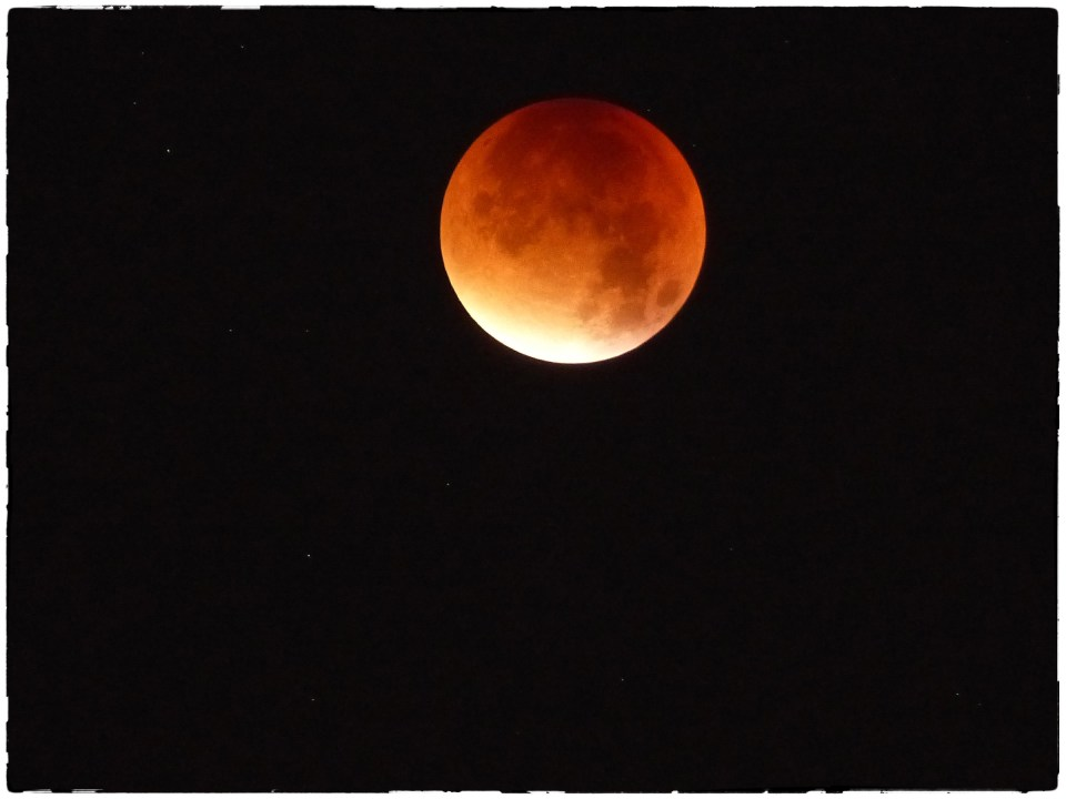 Orange moon in a black sky