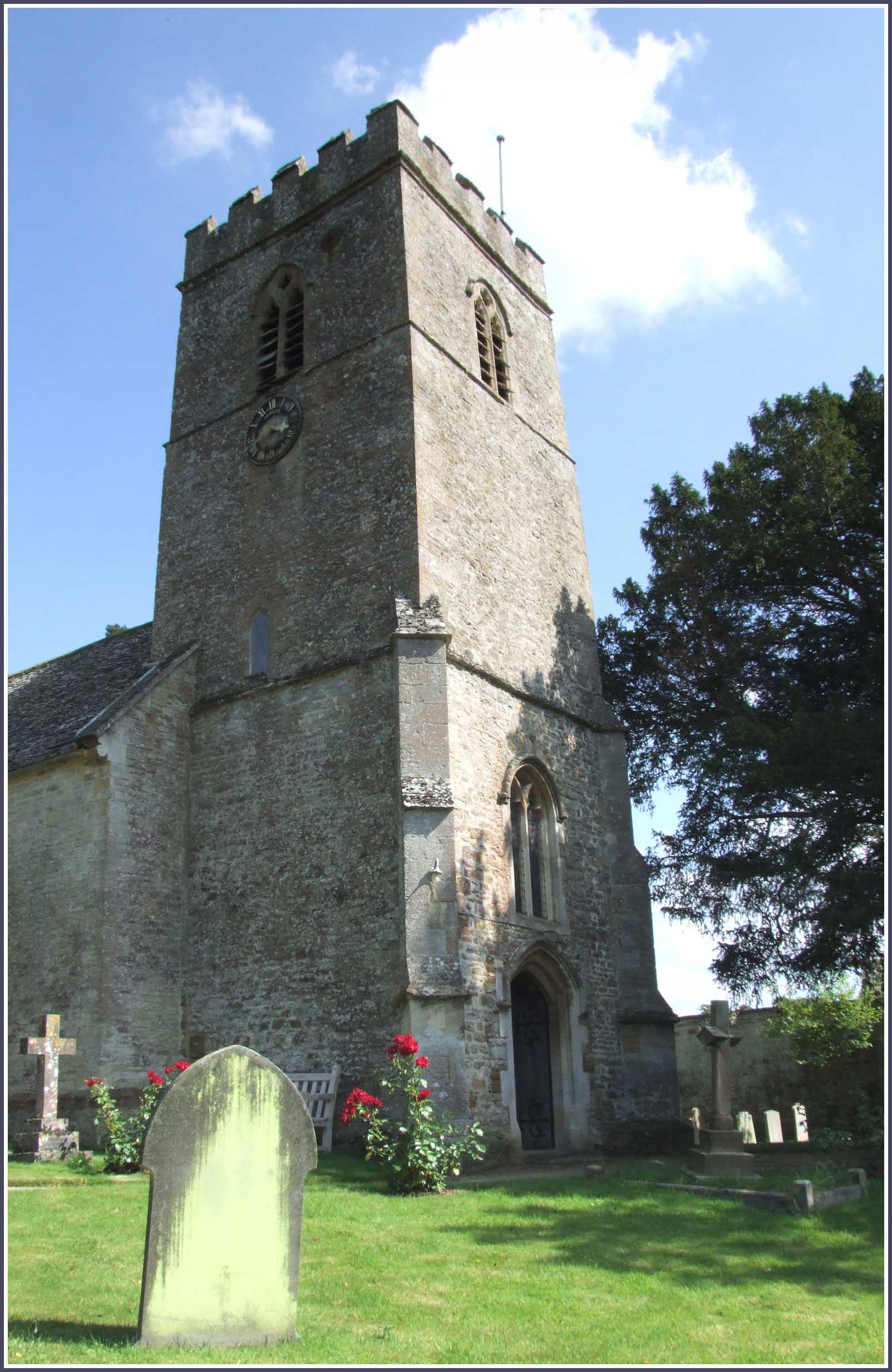 Stone church with square tower