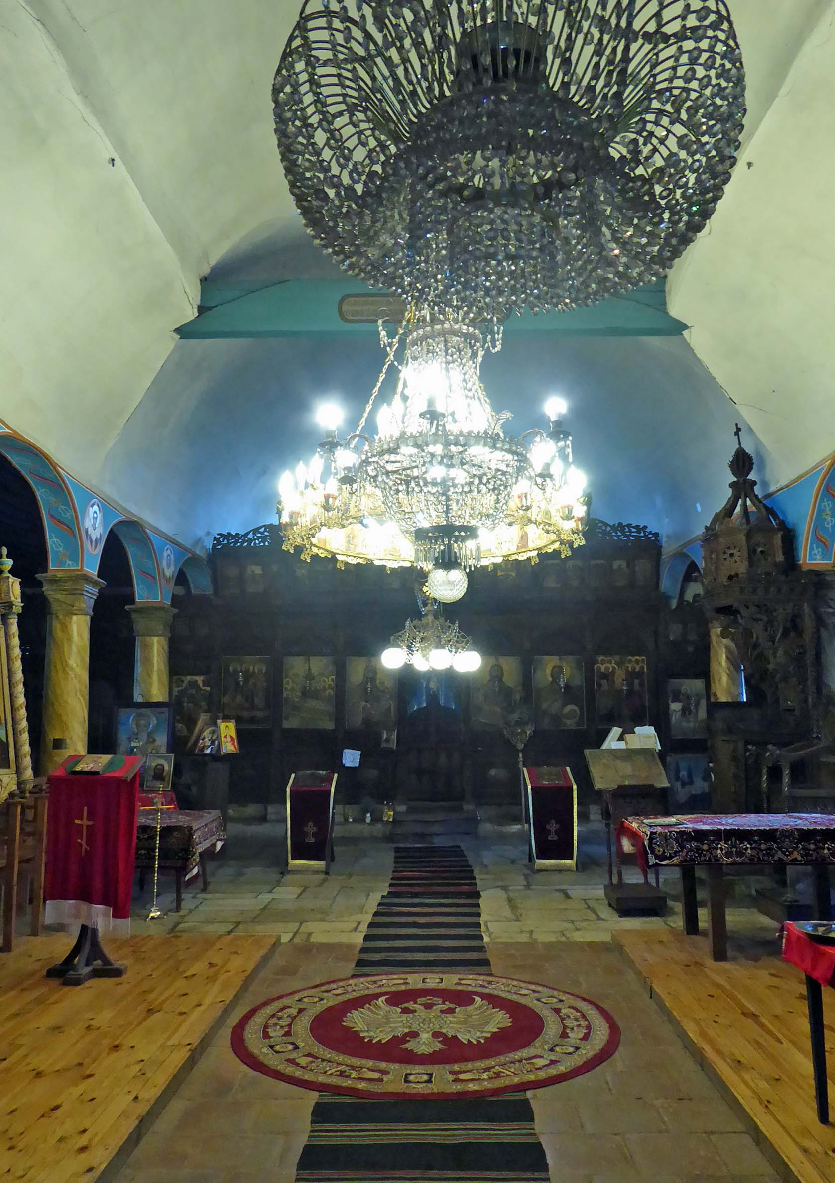 Church interior with chandelier