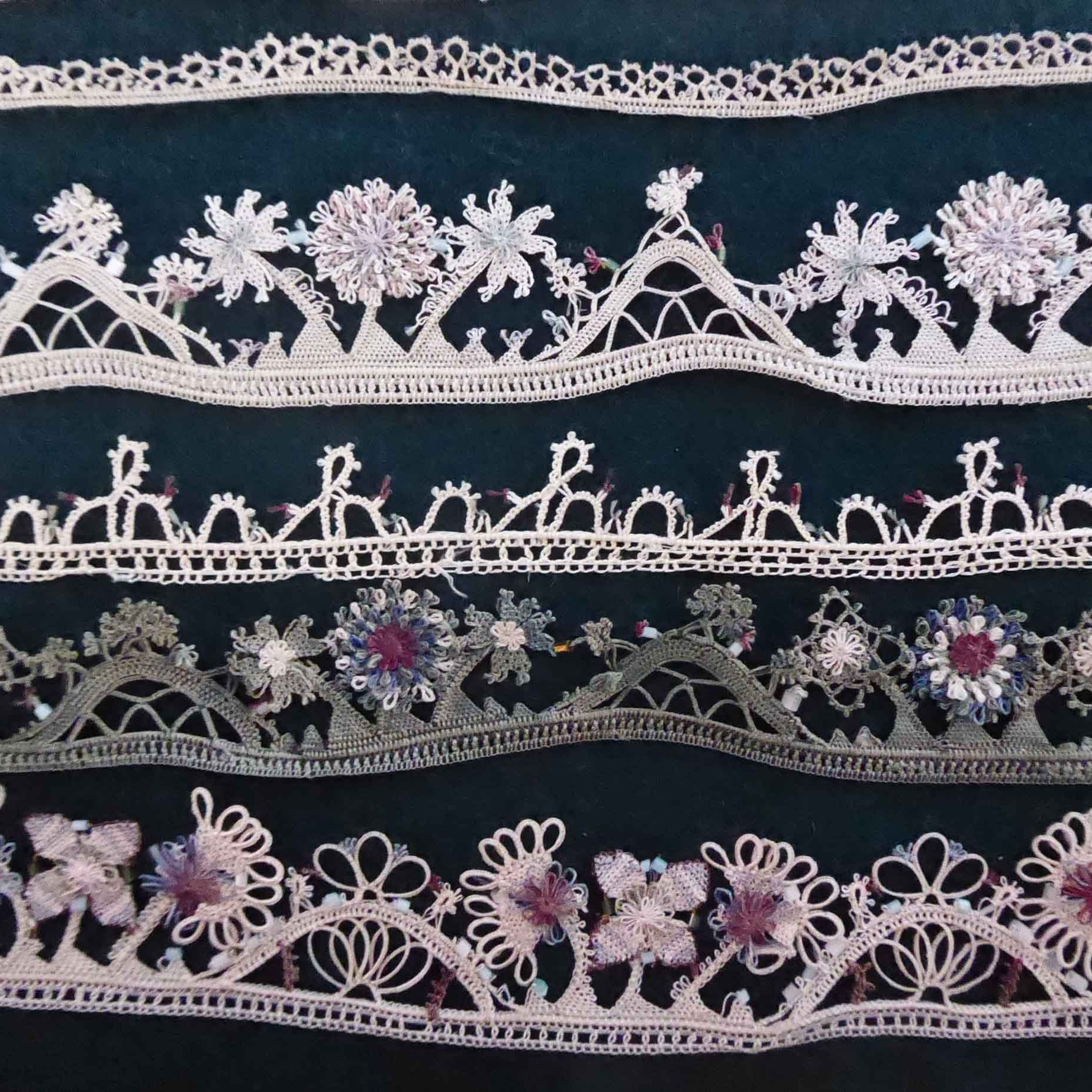 Thin bands of lace in white and pink