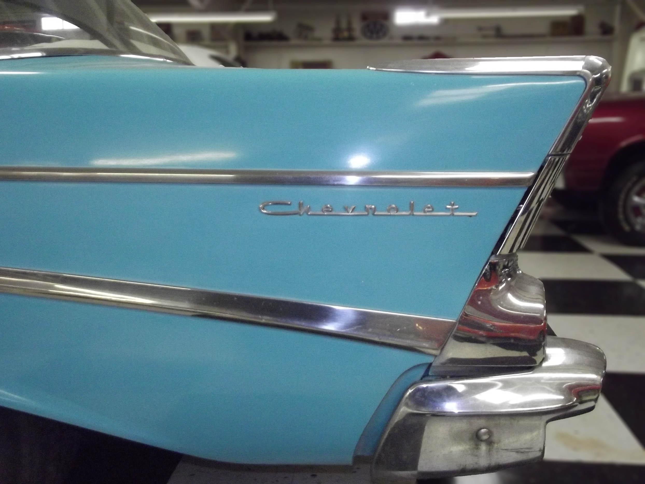 Pale blue car fin with silver trim