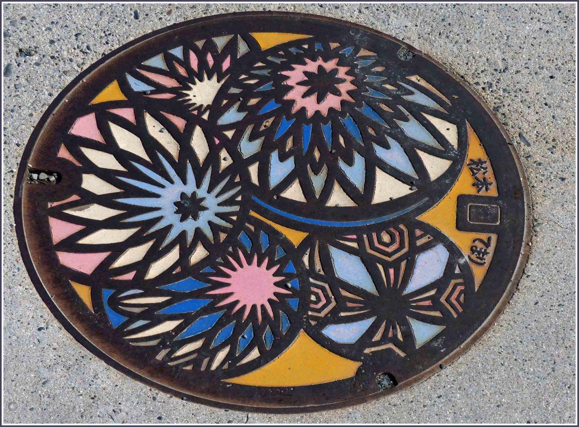 Colourful manhole cover