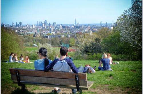 People sitting on a bench looking at a city view