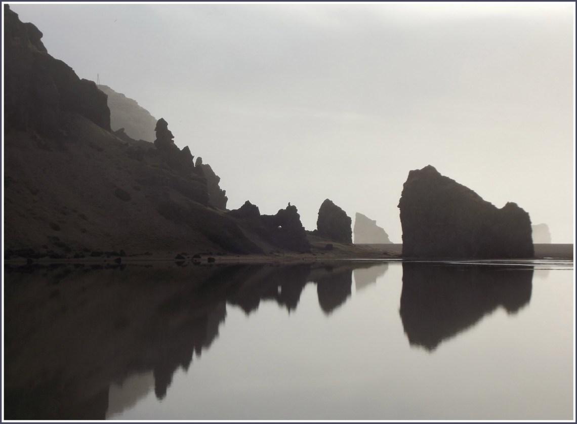 Black and white photo of sea stacks