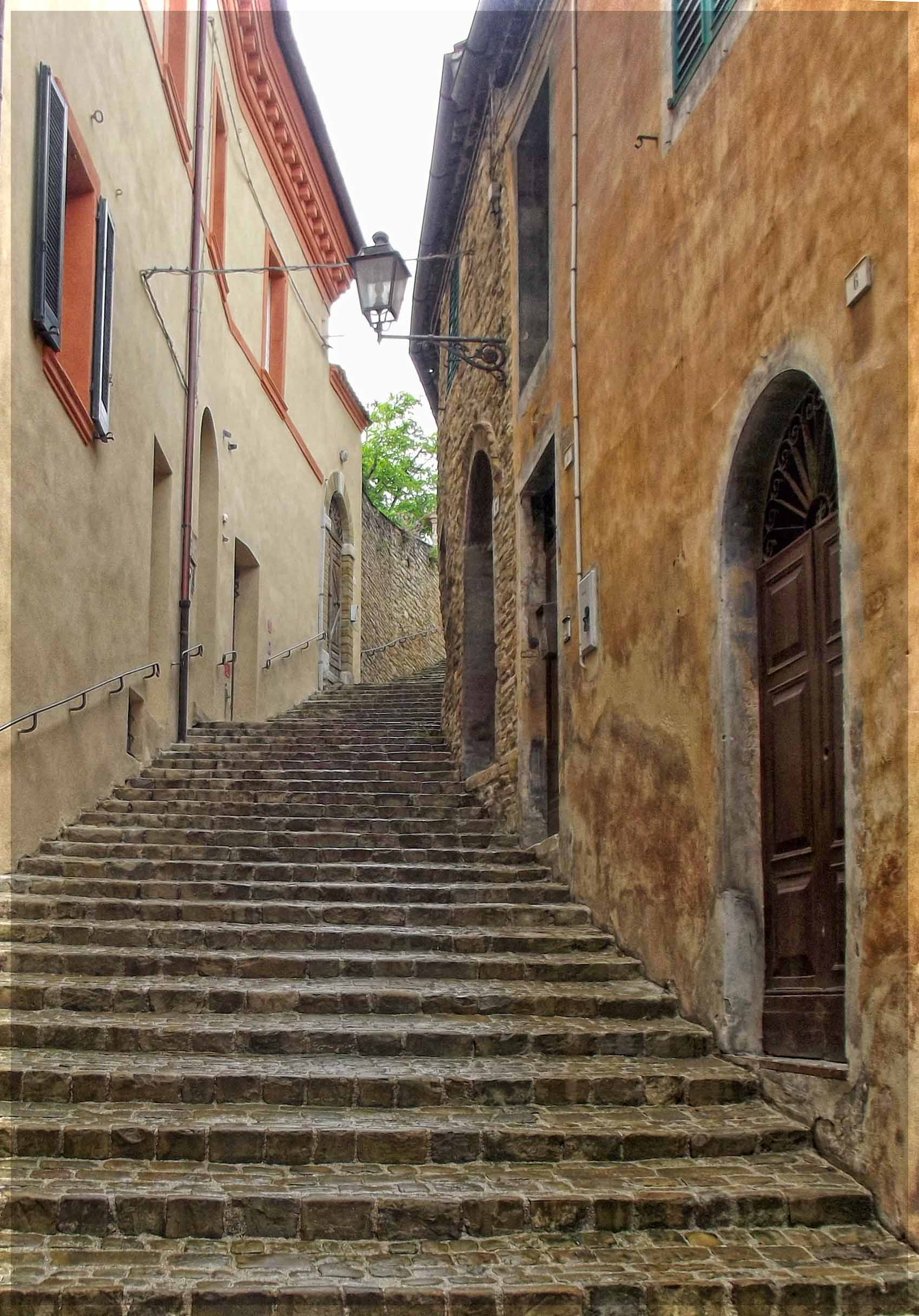 Steps leading up between houses
