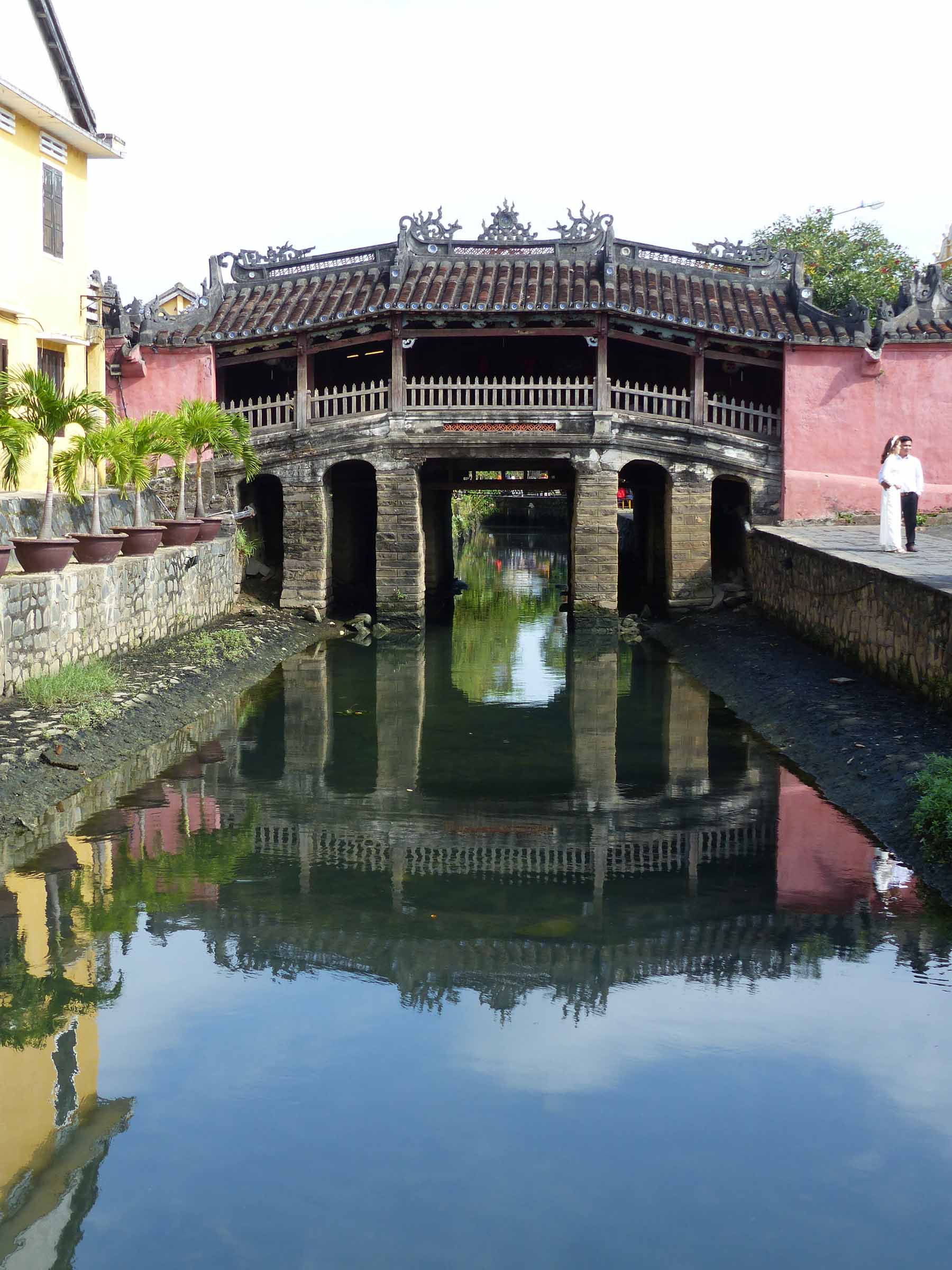 Oriental style bridge over a canal