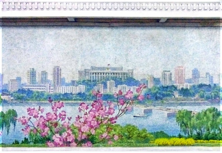 Mosaic of a city by a river