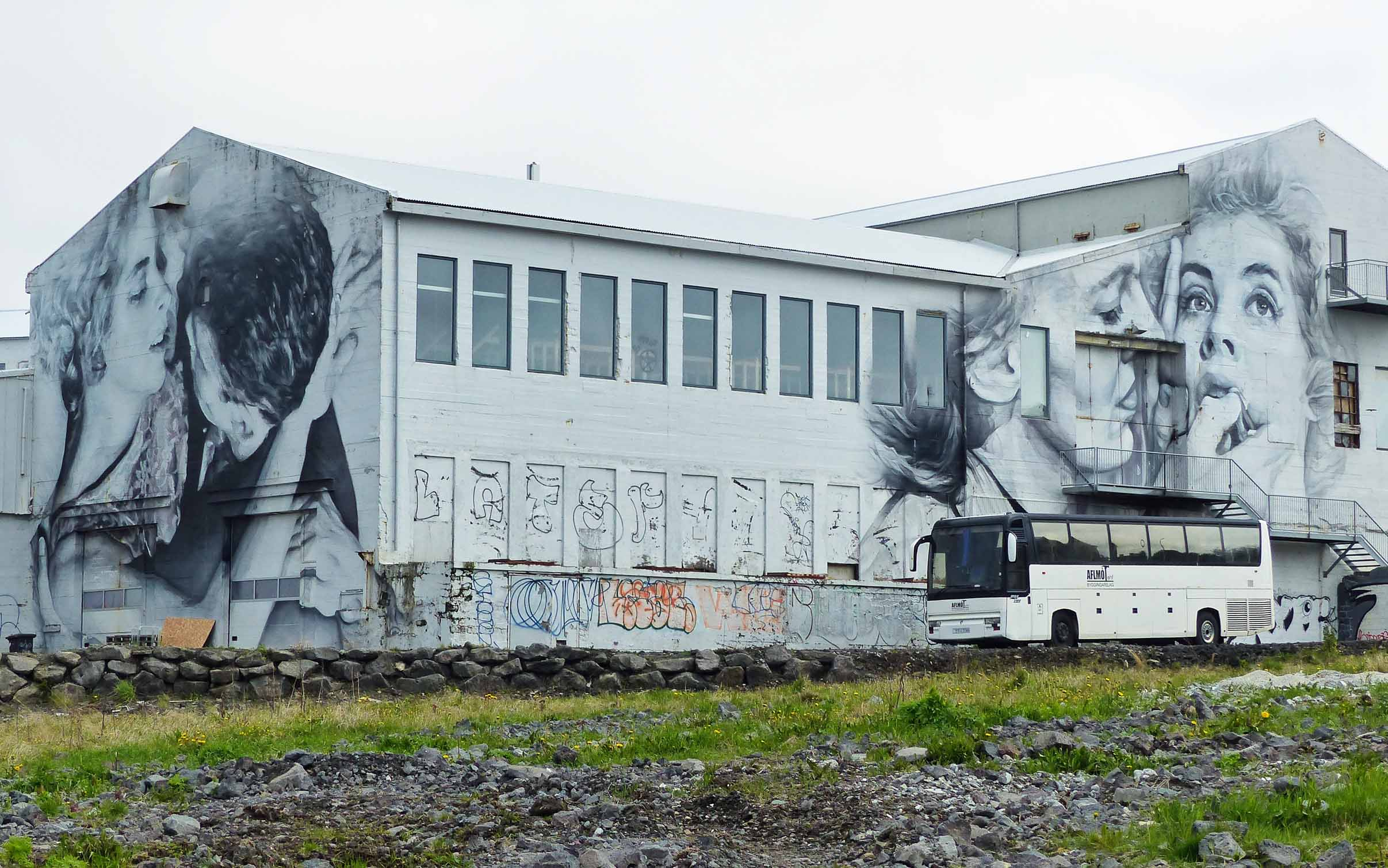 Huge black and white murals on an old building