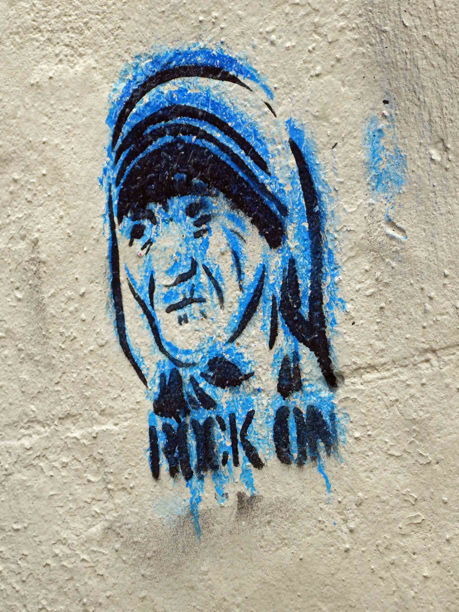 Small mural with face of Mother Teresa