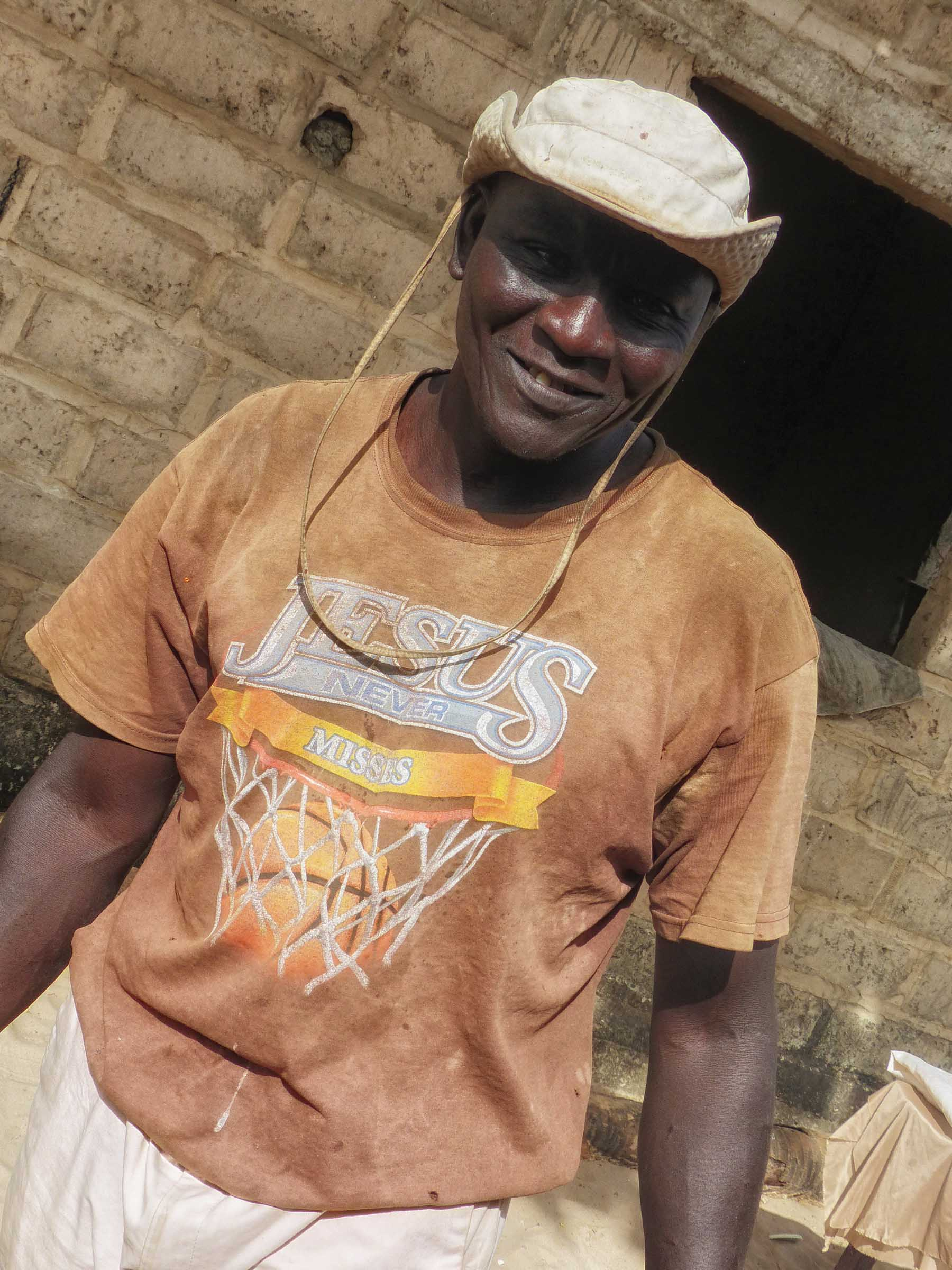 Man in t-shirt and cotton hat