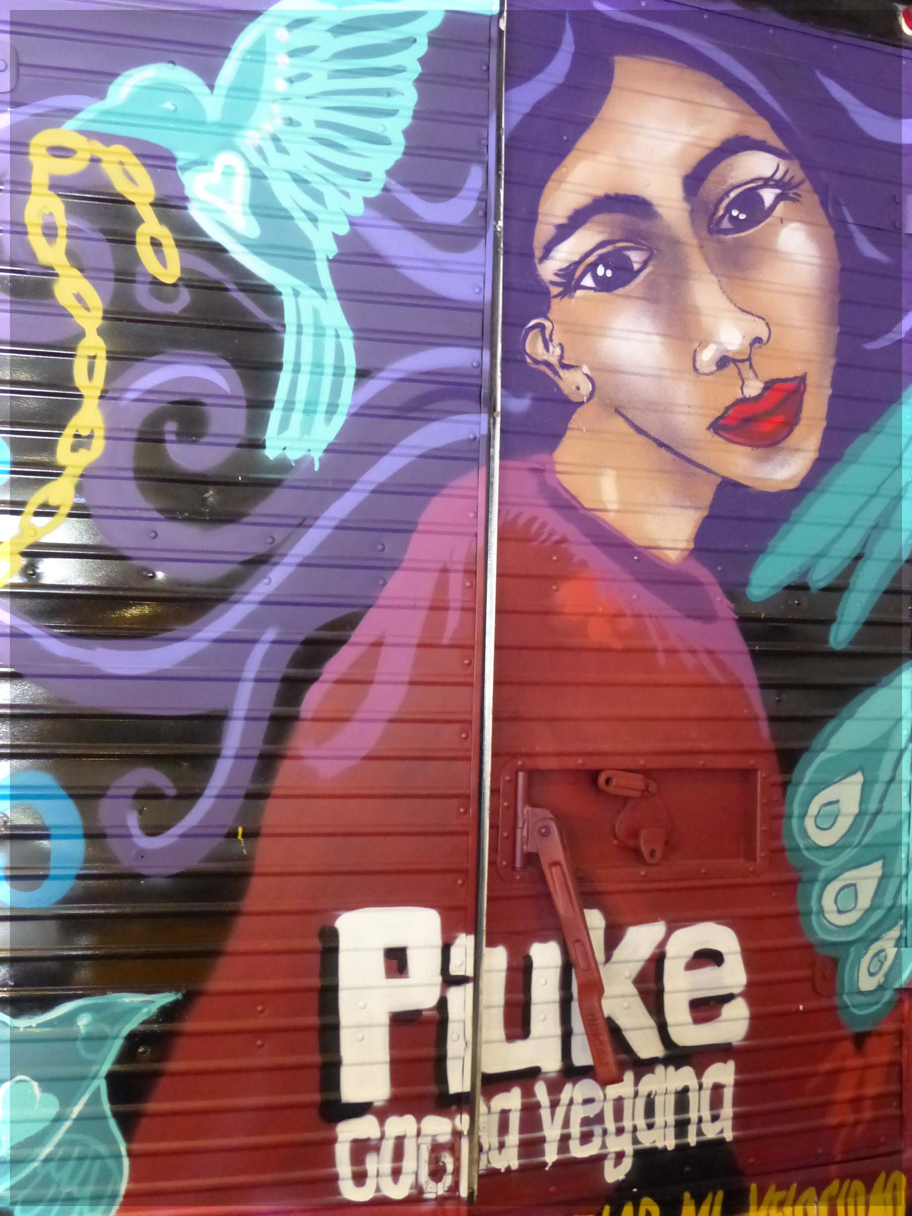 Colourful painting on metal shutters