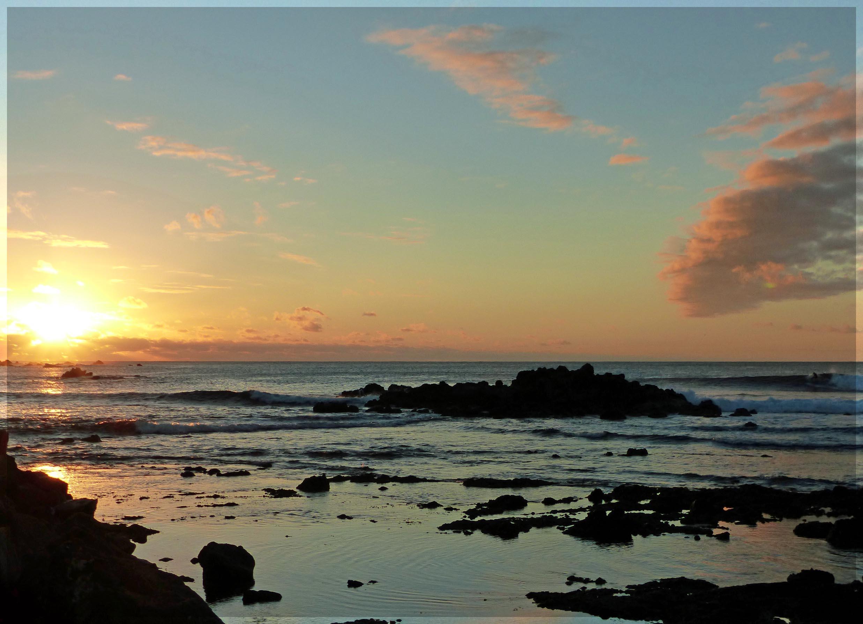 Rocky sea at sunset