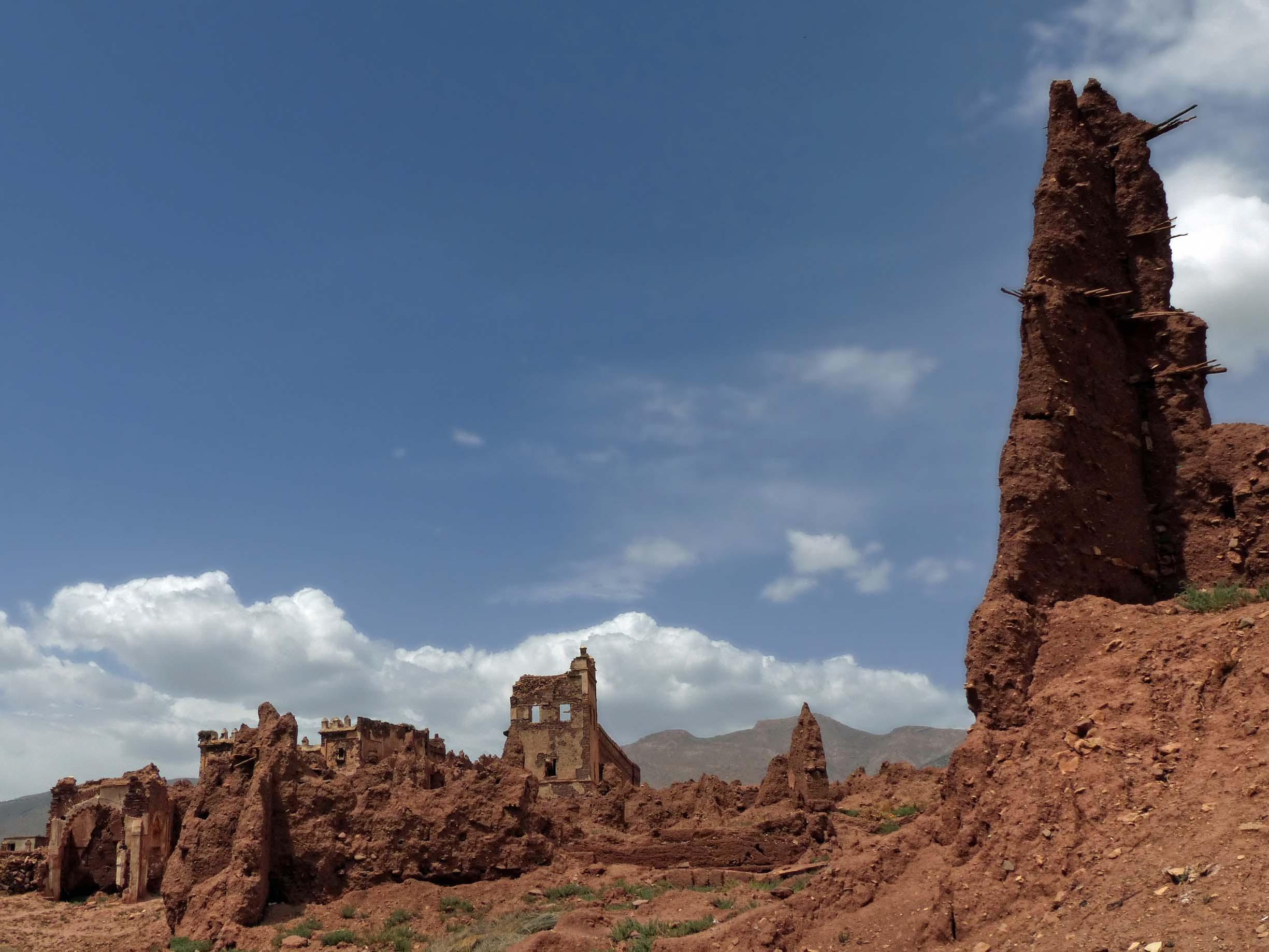 Red crumbling ruins