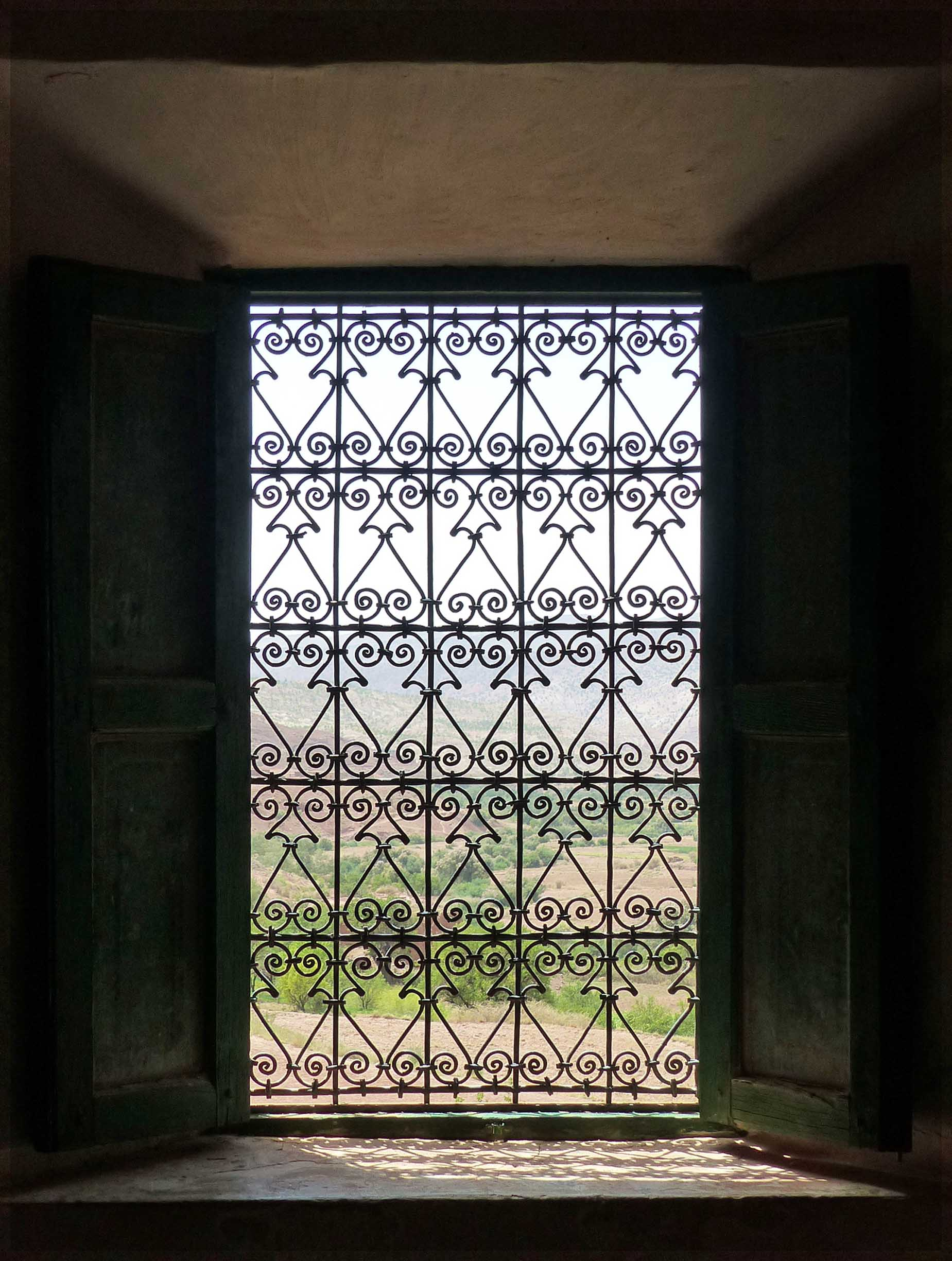 Window with fancy metal work and landscape beyond