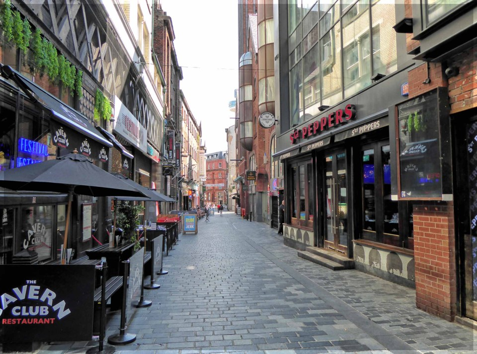 Street with bars and restaurants