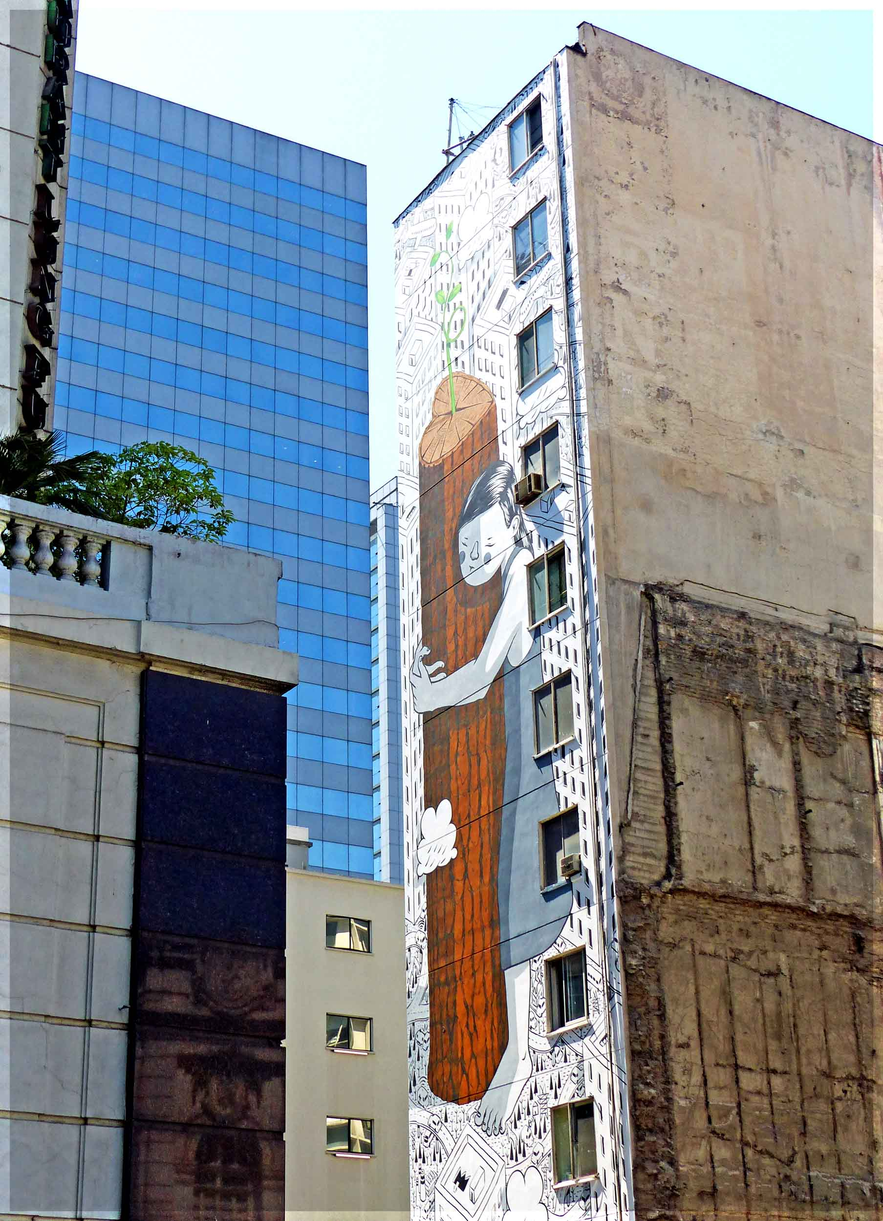 Tall building with wall painting