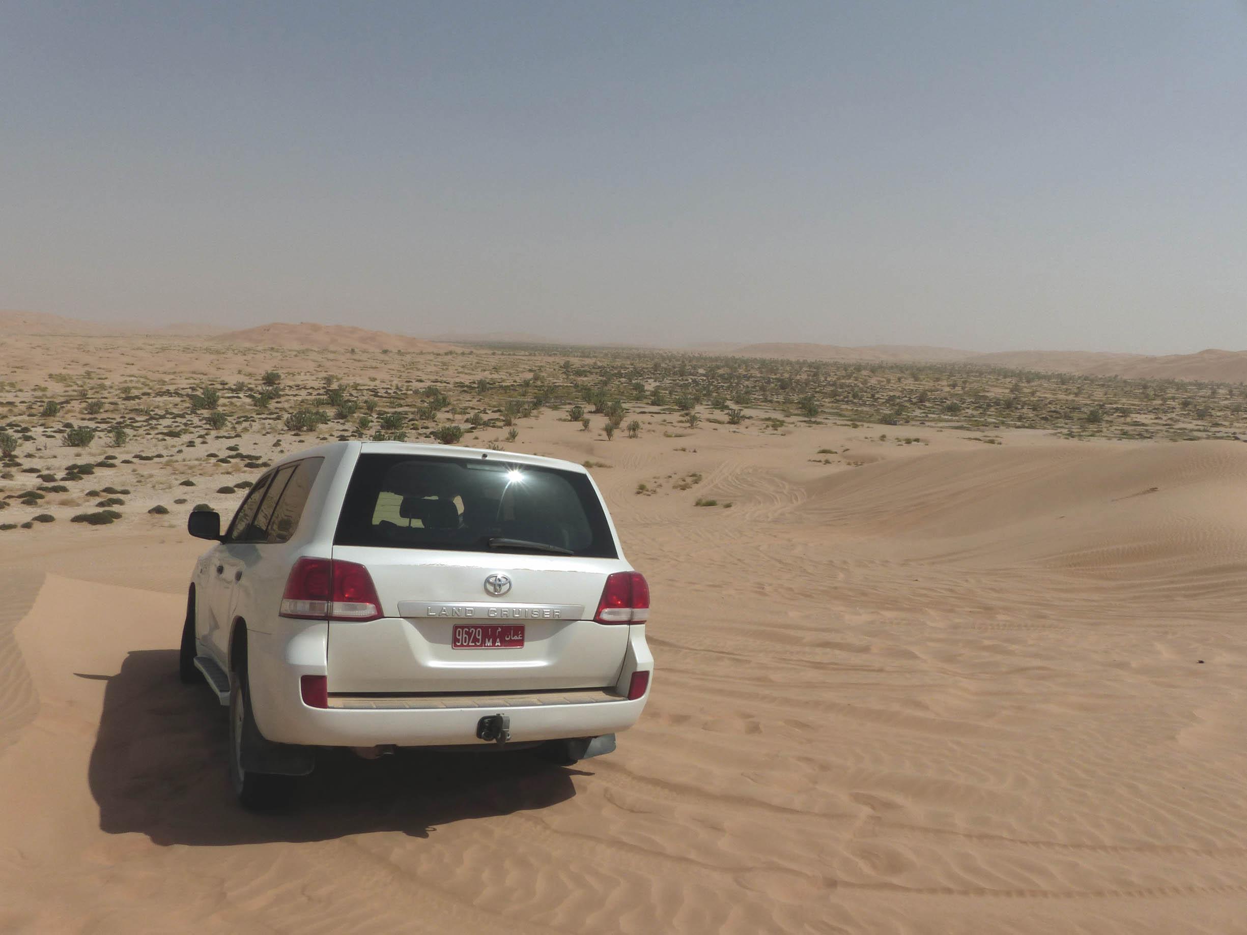 White car in a desert