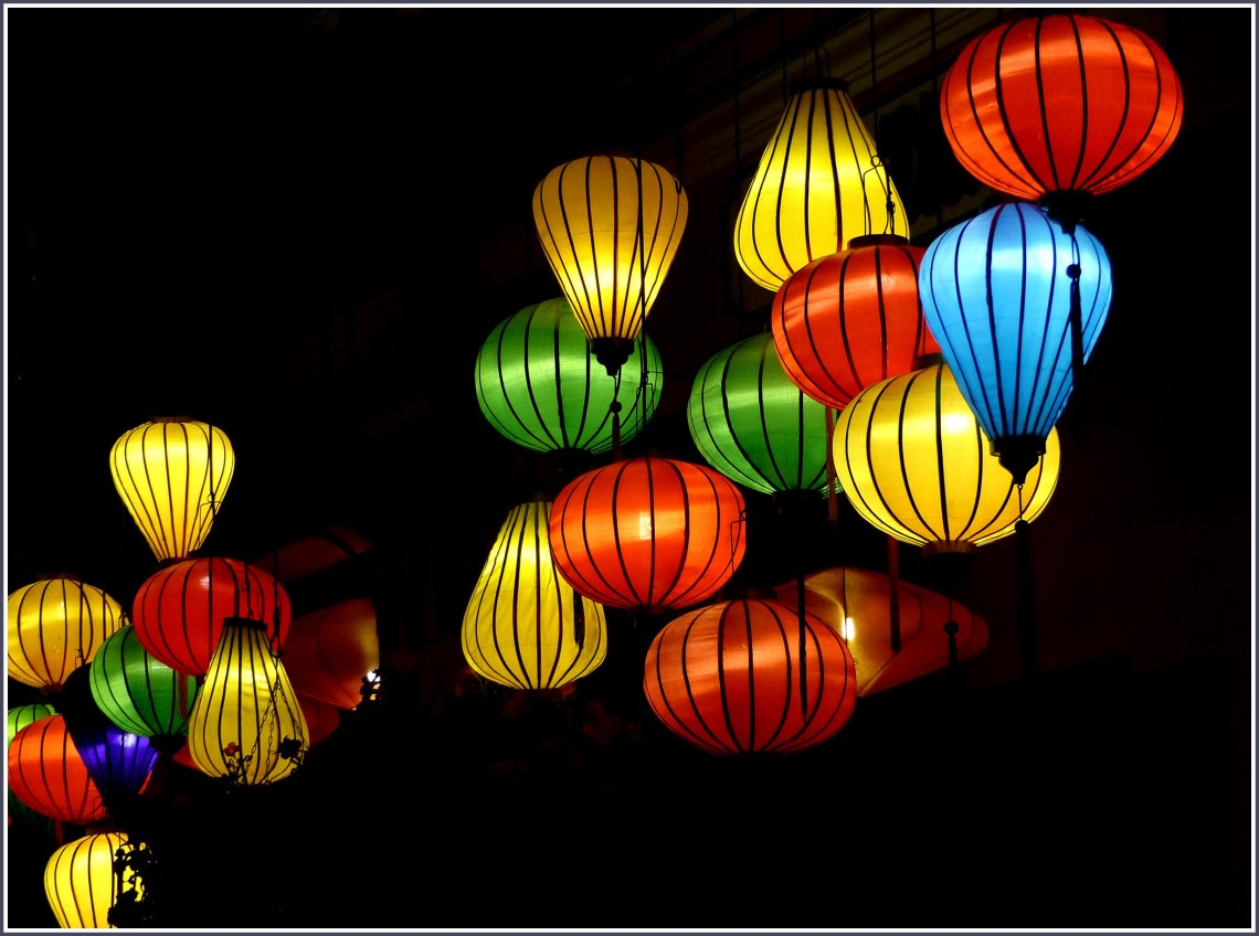 Colourful paper lanterns at night