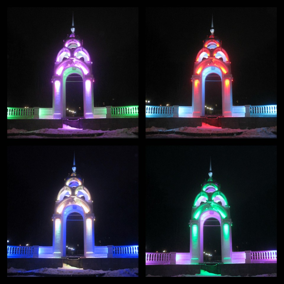Collage of a small domed building lit in four colours