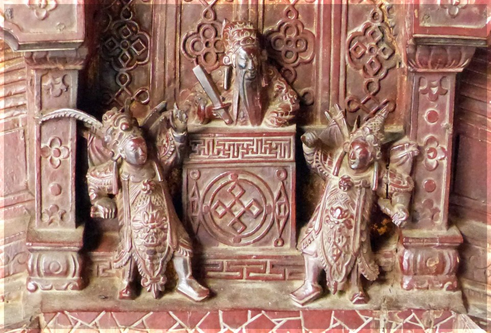 Terracotta carved with figures and altar