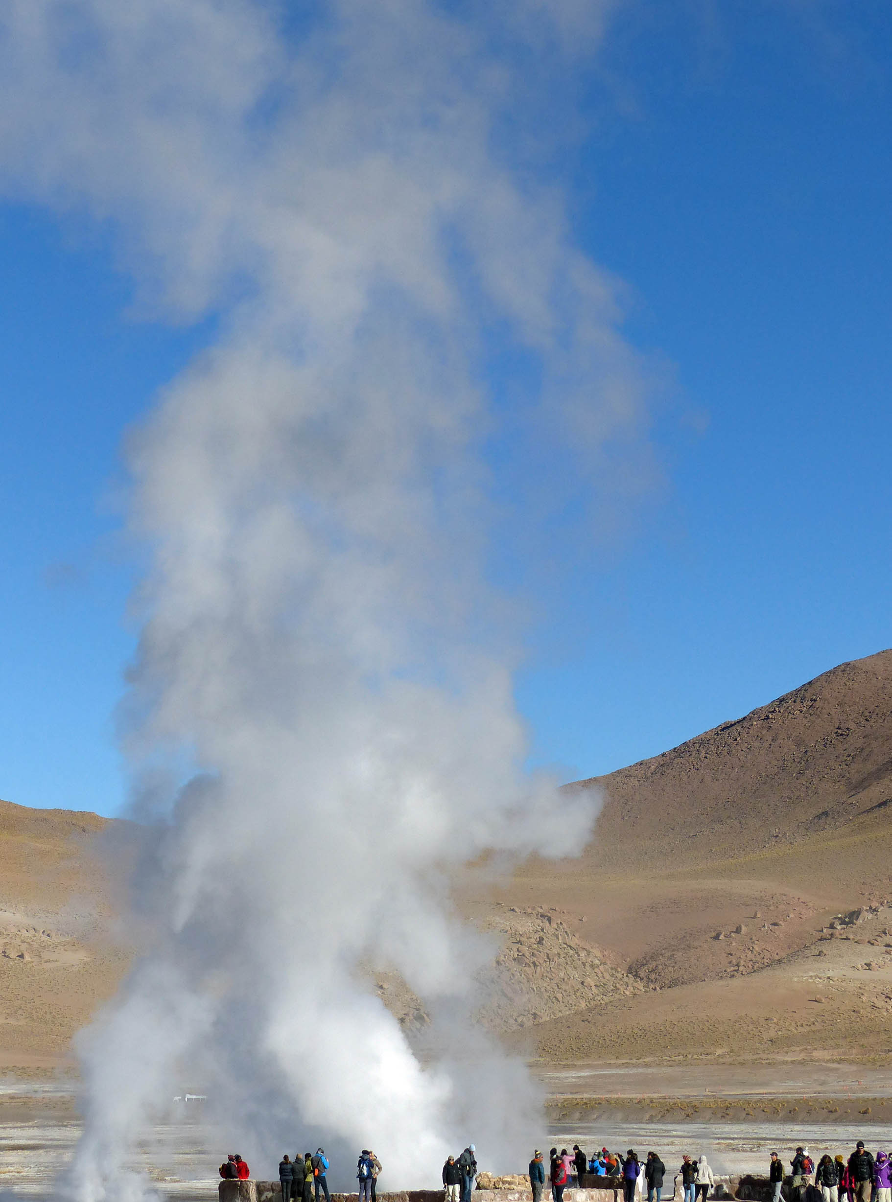 Steam rising from a geyser with people watching