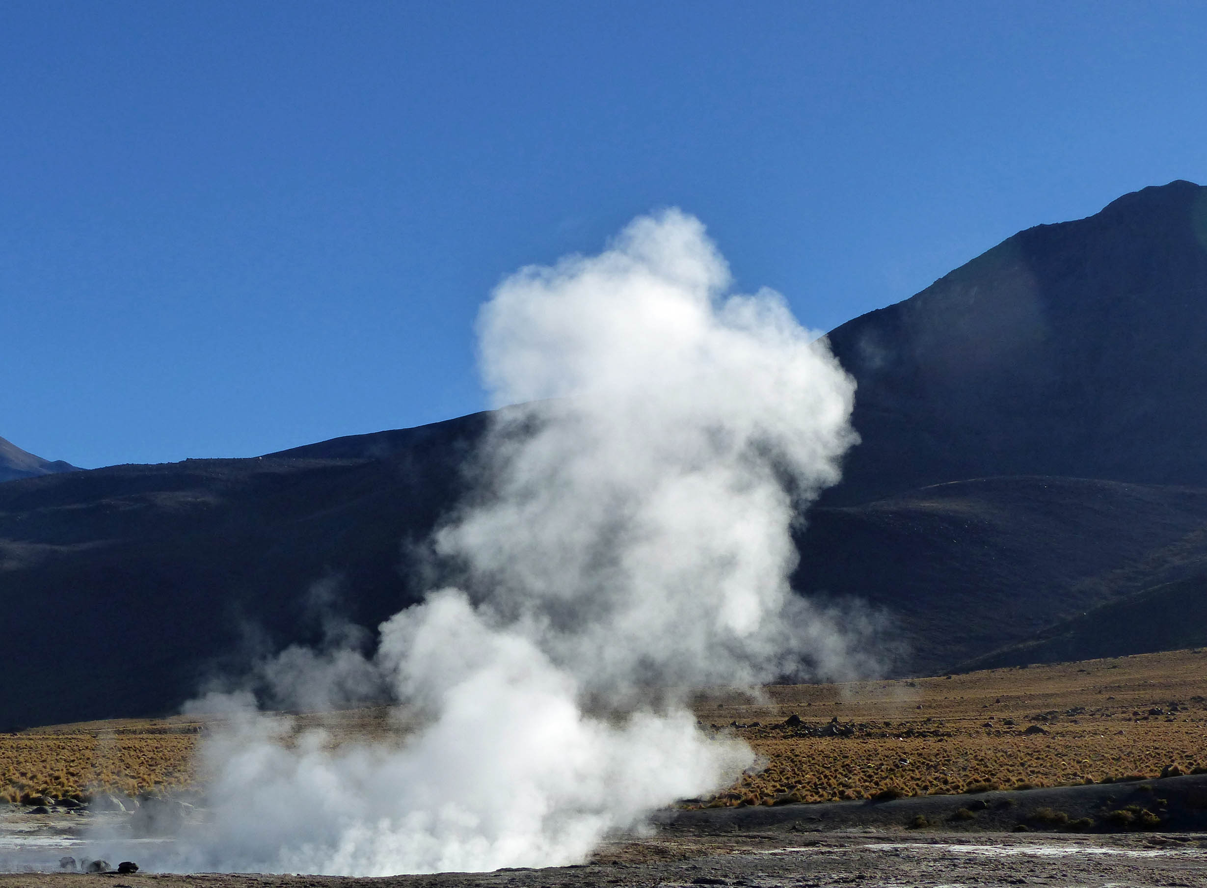 Steam rising from a geyser with mountain backdrop