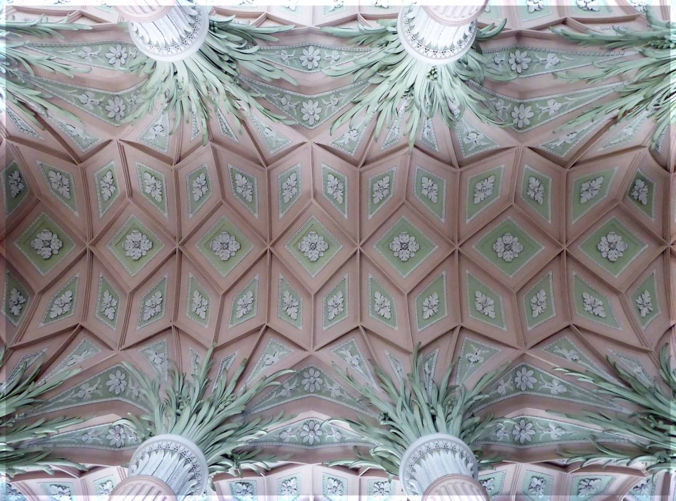 Ornate pink and green ceiling