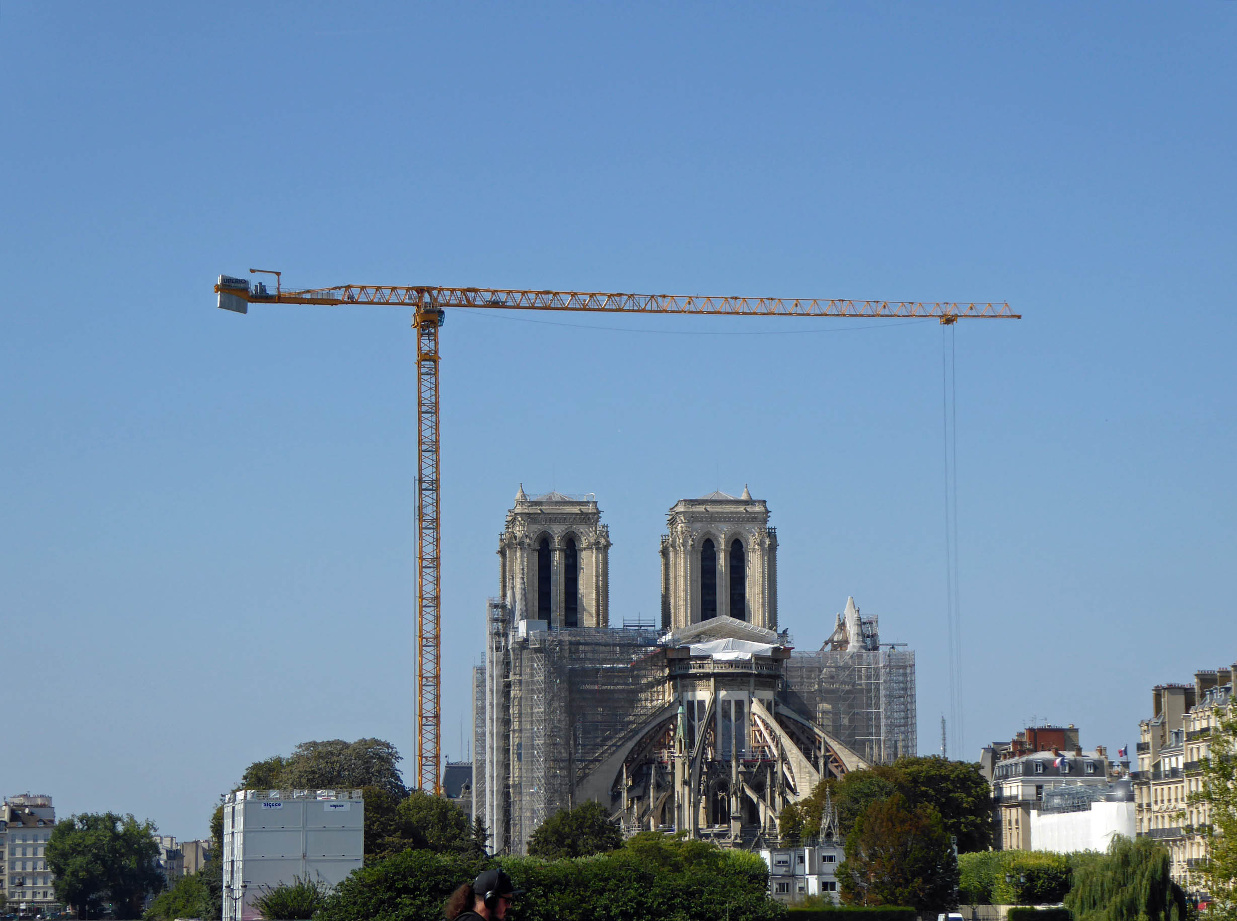 Cathedral with scaffolding and large crane