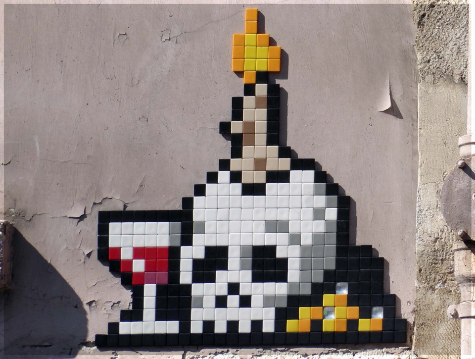 Mosaic of skull with glass of wine