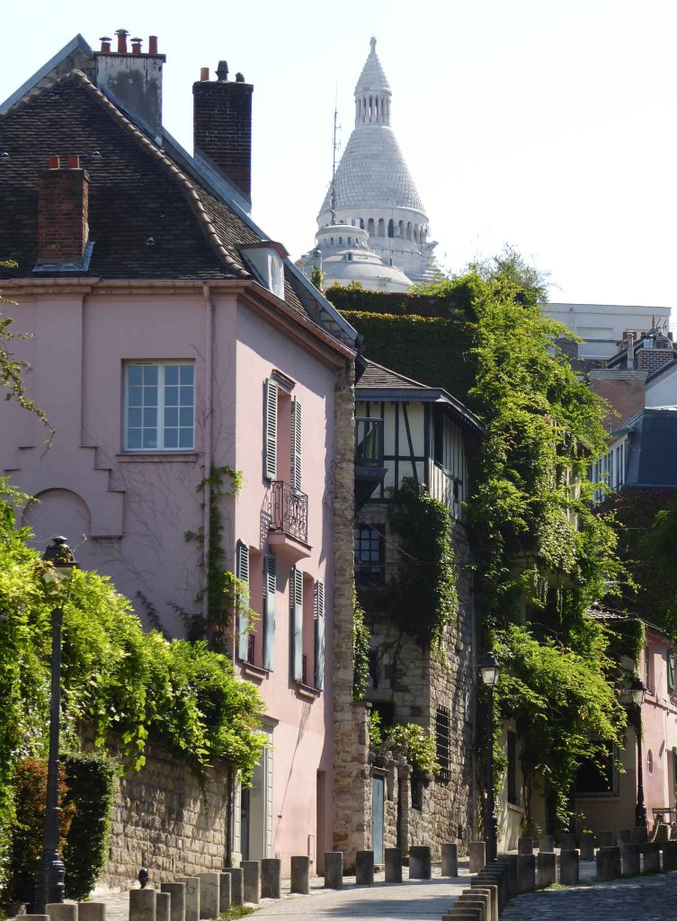Street of pink houses with creepers and white church beyond