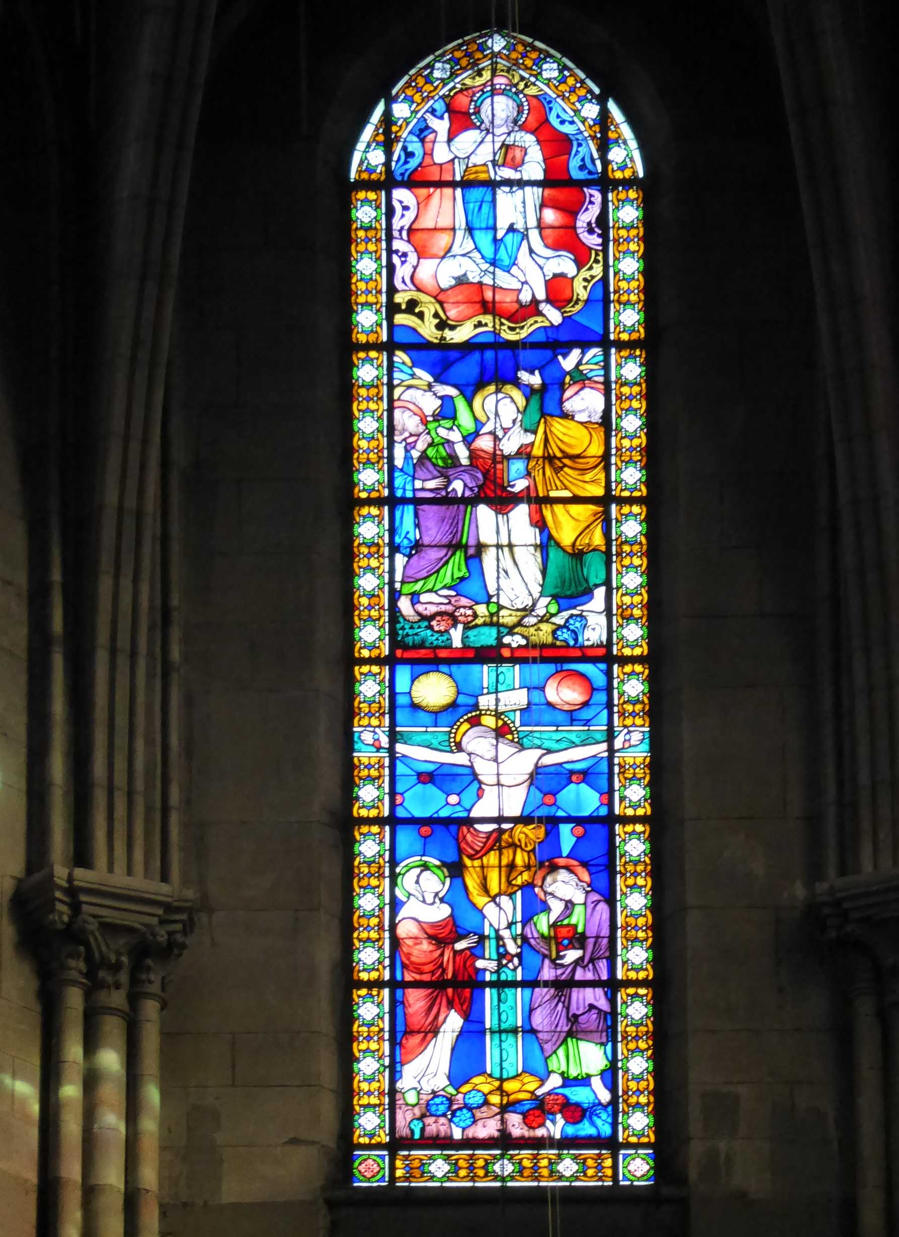 Tall narrow stained glass window