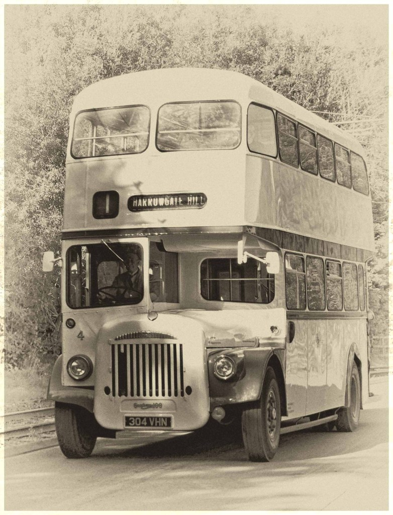 Sepia photo of old bus